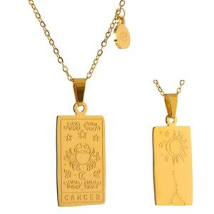 NEW 18K Gold Plated Cancer Sign Zodiac Tarot Card Square Pendant Necklace
